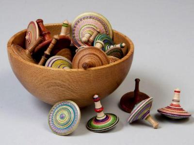 bowl of spinning tops