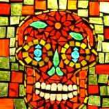 "Dia de Muertos Rojo 8"" x 10"" Glass on Glass mosaic ~ Sold"